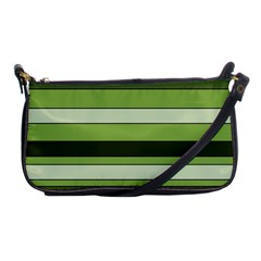 Greenery Stripes Pattern Horizontal Stripe Shades Of Spring Green Shoulder Clutch Bags