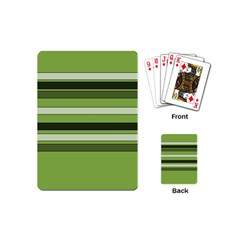 Greenery Stripes Pattern Horizontal Stripe Shades Of Spring Green Playing Cards (Mini)