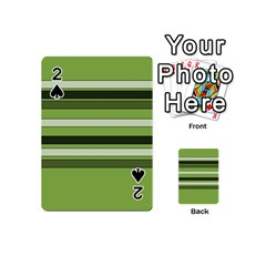 Greenery Stripes Pattern Horizontal Stripe Shades Of Spring Green Playing Cards 54 (Mini)