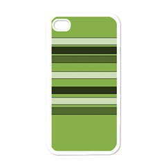 Greenery Stripes Pattern Horizontal Stripe Shades Of Spring Green Apple iPhone 4 Case (White)