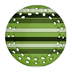Greenery Stripes Pattern Horizontal Stripe Shades Of Spring Green Ornament (Round Filigree)
