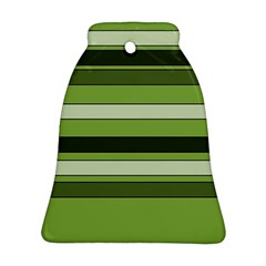 Greenery Stripes Pattern Horizontal Stripe Shades Of Spring Green Bell Ornament (2 Sides)