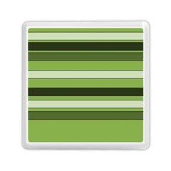 Greenery Stripes Pattern Horizontal Stripe Shades Of Spring Green Memory Card Reader (Square)