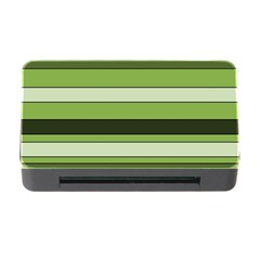 Greenery Stripes Pattern Horizontal Stripe Shades Of Spring Green Memory Card Reader with CF