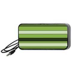 Greenery Stripes Pattern Horizontal Stripe Shades Of Spring Green Portable Speaker (Black)