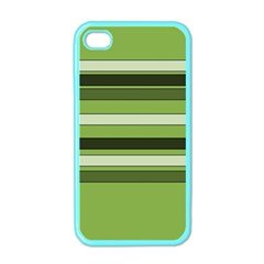 Greenery Stripes Pattern Horizontal Stripe Shades Of Spring Green Apple iPhone 4 Case (Color)