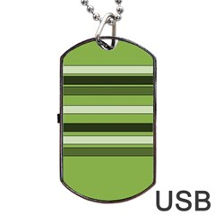 Greenery Stripes Pattern Horizontal Stripe Shades Of Spring Green Dog Tag USB Flash (One Side)