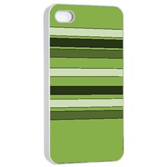 Greenery Stripes Pattern Horizontal Stripe Shades Of Spring Green Apple iPhone 4/4s Seamless Case (White)