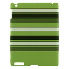 Greenery Stripes Pattern Horizontal Stripe Shades Of Spring Green Apple iPad 3/4 Hardshell Case