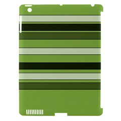 Greenery Stripes Pattern Horizontal Stripe Shades Of Spring Green Apple iPad 3/4 Hardshell Case (Compatible with Smart Cover)