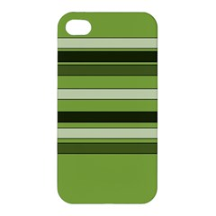 Greenery Stripes Pattern Horizontal Stripe Shades Of Spring Green Apple iPhone 4/4S Premium Hardshell Case