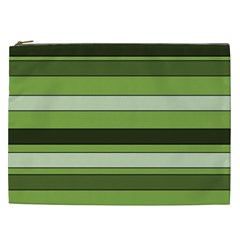 Greenery Stripes Pattern Horizontal Stripe Shades Of Spring Green Cosmetic Bag (XXL)