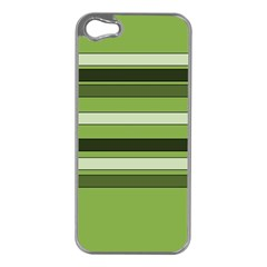 Greenery Stripes Pattern Horizontal Stripe Shades Of Spring Green Apple iPhone 5 Case (Silver)