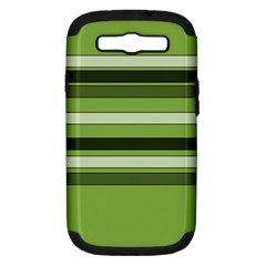 Greenery Stripes Pattern Horizontal Stripe Shades Of Spring Green Samsung Galaxy S III Hardshell Case (PC+Silicone)