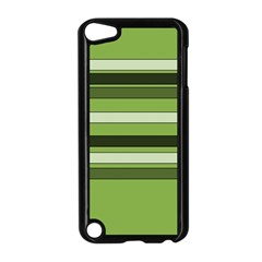 Greenery Stripes Pattern Horizontal Stripe Shades Of Spring Green Apple iPod Touch 5 Case (Black)