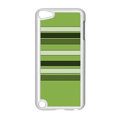 Greenery Stripes Pattern Horizontal Stripe Shades Of Spring Green Apple iPod Touch 5 Case (White)