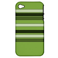 Greenery Stripes Pattern Horizontal Stripe Shades Of Spring Green Apple iPhone 4/4S Hardshell Case (PC+Silicone)