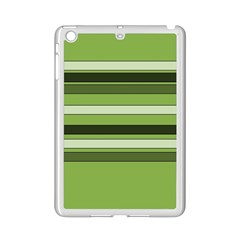 Greenery Stripes Pattern Horizontal Stripe Shades Of Spring Green iPad Mini 2 Enamel Coated Cases