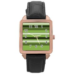 Greenery Stripes Pattern Horizontal Stripe Shades Of Spring Green Rose Gold Leather Watch