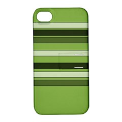 Greenery Stripes Pattern Horizontal Stripe Shades Of Spring Green Apple iPhone 4/4S Hardshell Case with Stand