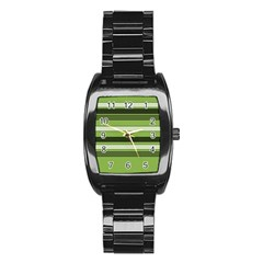 Greenery Stripes Pattern Horizontal Stripe Shades Of Spring Green Stainless Steel Barrel Watch