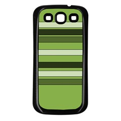 Greenery Stripes Pattern Horizontal Stripe Shades Of Spring Green Samsung Galaxy S3 Back Case (Black)