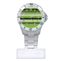 Greenery Stripes Pattern Horizontal Stripe Shades Of Spring Green Plastic Nurses Watch