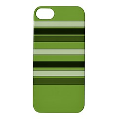 Greenery Stripes Pattern Horizontal Stripe Shades Of Spring Green Apple iPhone 5S/ SE Hardshell Case