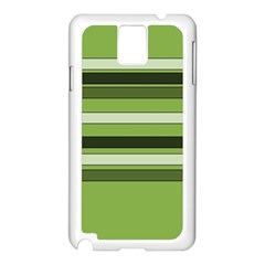 Greenery Stripes Pattern Horizontal Stripe Shades Of Spring Green Samsung Galaxy Note 3 N9005 Case (White)