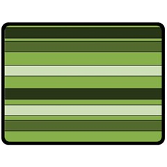 Greenery Stripes Pattern Horizontal Stripe Shades Of Spring Green Double Sided Fleece Blanket (Large)