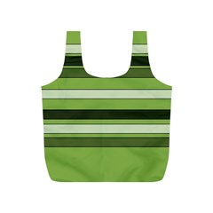 Greenery Stripes Pattern Horizontal Stripe Shades Of Spring Green Full Print Recycle Bags (S)