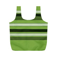 Greenery Stripes Pattern Horizontal Stripe Shades Of Spring Green Full Print Recycle Bags (M)