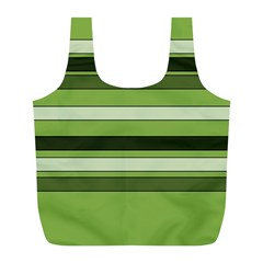 Greenery Stripes Pattern Horizontal Stripe Shades Of Spring Green Full Print Recycle Bags (L)