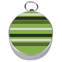 Greenery Stripes Pattern Horizontal Stripe Shades Of Spring Green Silver Compasses