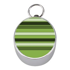 Greenery Stripes Pattern Horizontal Stripe Shades Of Spring Green Mini Silver Compasses
