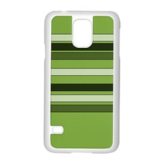 Greenery Stripes Pattern Horizontal Stripe Shades Of Spring Green Samsung Galaxy S5 Case (White)
