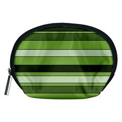 Greenery Stripes Pattern Horizontal Stripe Shades Of Spring Green Accessory Pouches (Medium)