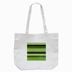 Greenery Stripes Pattern Horizontal Stripe Shades Of Spring Green Tote Bag (White)