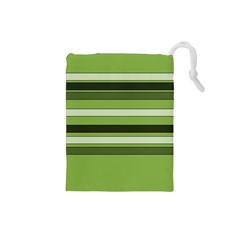 Greenery Stripes Pattern Horizontal Stripe Shades Of Spring Green Drawstring Pouches (Small)