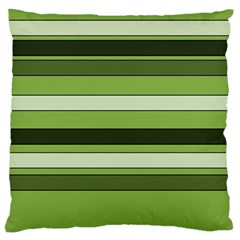 Greenery Stripes Pattern Horizontal Stripe Shades Of Spring Green Large Flano Cushion Case (Two Sides)