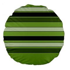 Greenery Stripes Pattern Horizontal Stripe Shades Of Spring Green Large 18  Premium Flano Round Cushions