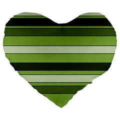 Greenery Stripes Pattern Horizontal Stripe Shades Of Spring Green Large 19  Premium Flano Heart Shape Cushions