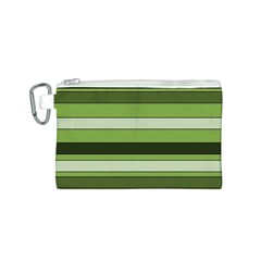 Greenery Stripes Pattern Horizontal Stripe Shades Of Spring Green Canvas Cosmetic Bag (S)
