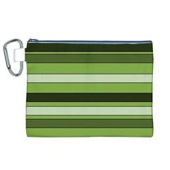 Greenery Stripes Pattern Horizontal Stripe Shades Of Spring Green Canvas Cosmetic Bag (XL)