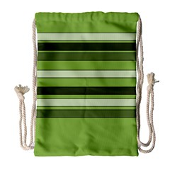 Greenery Stripes Pattern Horizontal Stripe Shades Of Spring Green Drawstring Bag (Large)