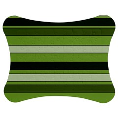 Greenery Stripes Pattern Horizontal Stripe Shades Of Spring Green Jigsaw Puzzle Photo Stand (Bow)