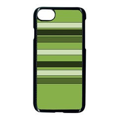 Greenery Stripes Pattern Horizontal Stripe Shades Of Spring Green Apple iPhone 7 Seamless Case (Black)