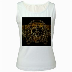 Virus Computer Encryption Trojan Women s White Tank Top