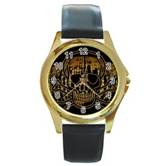 Virus Computer Encryption Trojan Round Gold Metal Watch