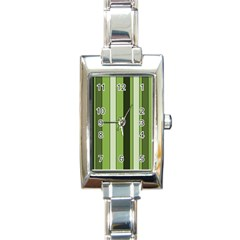 Greenery Stripes Pattern 8000 Vertical Stripe Shades Of Spring Green Color Rectangle Italian Charm Watch